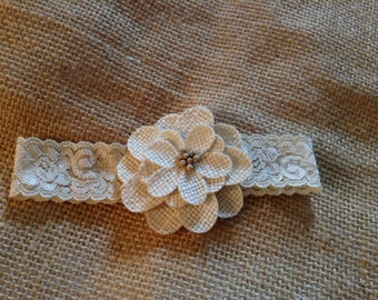 Newborn girls flower headband- couture headband,flower girl,wedding,bridal garter,baby girls headband,photo prop