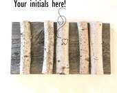 Personalized rustic reclaimed barn wood and birch tree branch with heart.  Wedding gift, housewarming, rustic home decor.  Couple gift.