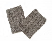 Knitted cuffs, Wool cuffs, Long Hand Knitted Wool Very dark Grey Boot Cuffs, Dark Grey Boot Cuffs, Leg Warmers, Boot Toppers