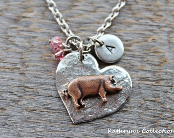 Pig Necklace, Pig Jewelry, Pet Pig, Piggy, Pig Gift, Pig Lover Gift