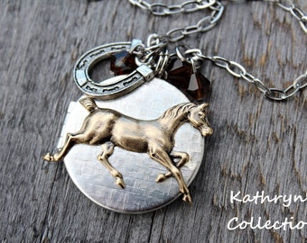 Horse Locket Necklace, Horse Necklace, Horse Locket, Horse Jewelry, Horse Lover, Equestrian Necklace, Horse Memorial Jewelry