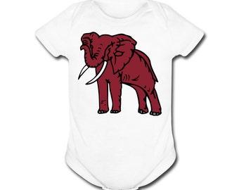 Baby's Crimson Elephant Short Sleeve Bodysuit for Alabama Crimson Tide Fans!