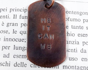 Military Tag Style Necklace, Mans Necklace, Copper Pendant, For Him, Father's Day Gift, Dog Tag