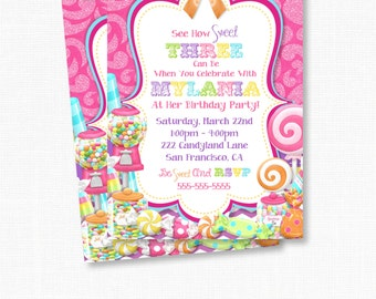 Sweet Shoppe Invitation, Candyland, Bubble Gum, Lalaloopsy Party, Candy Land, Lollipop, Girl Birthday Party, Girl Party Cards
