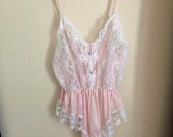 Pink Peekaboo Satin & Lace Intimate Nightie ~Size Small/Medium