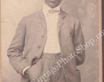 Identified Dapper Man Vintage Cabinet Photo  Black Americana- African American