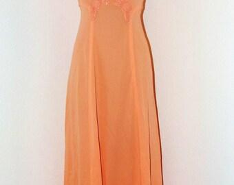 Vintage 1970s Empire Waist Long Dress in Pastel Orange