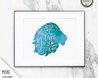 Alpha Delta Pi ADPi Lion | Watercolor Wall Art Print | Sorority Big Little Reveal Gift | Officially Licensed | ADP-CP