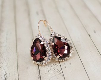 Burgundy Bridal Earring Rose Gold Earring Marsala Earring Rose Gold Bridesmaid Earring Burgundy Bridesmaid Necklace Bridal Jewelry Bordeaux