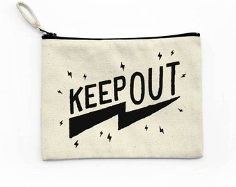 Keep Out Canvas Pouch, Makeup Bag, Canvas Bag, Cosmetic Bag