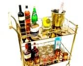 1970's GLAM Brass Bar Cart || Two-Tier Gold Mirror || Bottle Slots || Vintage Hostess Server