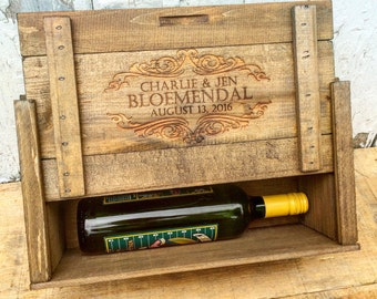 Personalized Wine Box for Two Bottles of Wine, Liquor or Beer