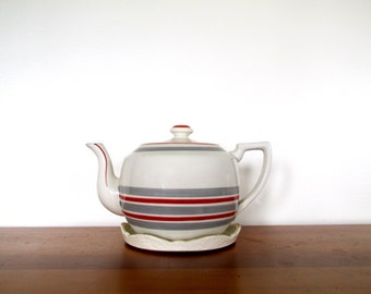 Mikori Ware Red Gray Striped Teapot with Tray