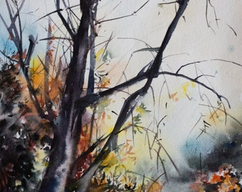 Landscape Original Watercolor Painting, Tree Painting, Watercolour Art