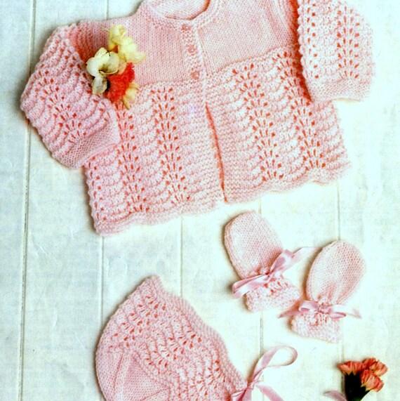 Knitting Pattern Baby Matinee Jacket : Vintage Knitting Pattern Baby Matinee Cardigan Jacket Bonnet