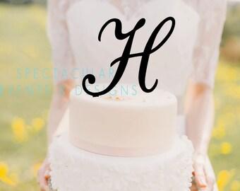 6 tall monogram inital letter cake topper letter h cake topper