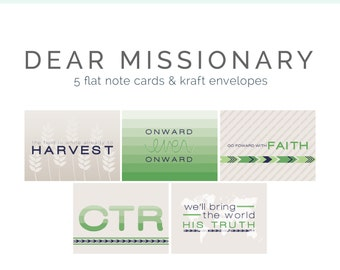Green Missionary Note Card/ Journal Card Package | 5 Flat, 5.5x4, Note Cards & Kraft Envelopes