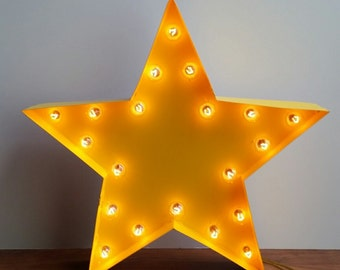 """Light Up 18"""" Star Marquee Yellow Sign"""