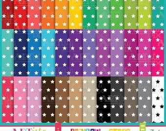 Stars Digital Paper Pack, Rainbow Digital Paper, Scrapbooking, Invitations, Graphics