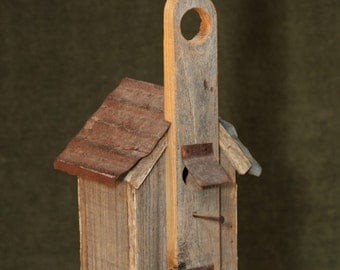Vintage Handmade Weathered Wood BIRDHOUSE Church Steeple Metal Roof Rustic Garden Decor