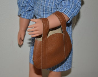 Brown Pleather Purse -- FREE SHIPPING -- 18 in Doll Clothes -- doll accessories -- doll clothes - purse, handbag