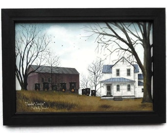 Amish Church, 'Sunday Service', Billy Jacobs, Country Decor, Primitive Picture,Art Print, Handmade, 21X15, Custom Wood Frame, Made in USA