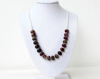 Rosy apple jade necklace, Handmade in the UK