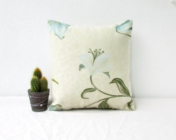 Small blue floral cushion cover, handmade in the UK