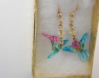 Little Glass Hummingbird Ear Rings on GF Ear Wires
