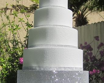 "14"" Round/Square Wedding Cake Stand Pedestal Riser Platform, Sparkly Bling Rhinestone Mesh, Foil cake board top, 6"" tall Styrofoam-12 colors"
