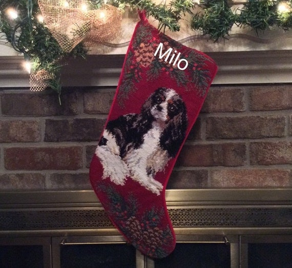 Tri-Color Cavalier King Charles Dog Stocking, Personalized Christmas stockings, Dog stocking, Cavalier Needlepoint Christmas stocking[BABarkerGifts/Etsy]