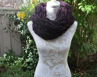 Arm knitted endless cowl, scarf in wine