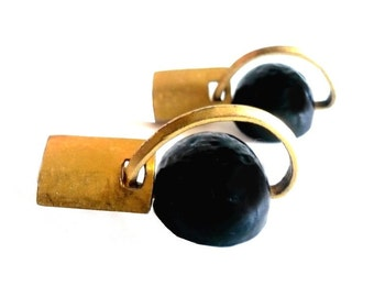 DELPHINE NARDIN ~ Authentic Vintage Gold Plated Earrings - Black Moon
