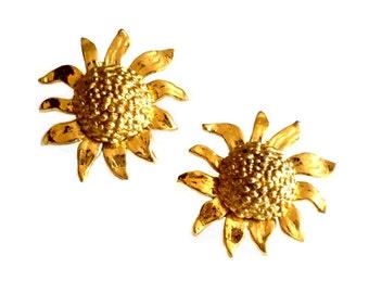 YVES SAINT LAURENT ~ Authentic Vintage Gold Plated Sun flowers Earrings