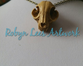 Large Antiqued Style 3D Resin Cat Kitten Skull Necklace on Bronze or Silver Crossed Chain. Costume, Anatomical, Gothic, Wiccan, Pagan