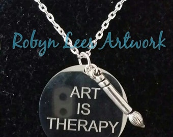 Art Is Therapy Stainless Steel Engraved Disc Necklace with Silver 3D Paintbrush on Silver Chain, Artist