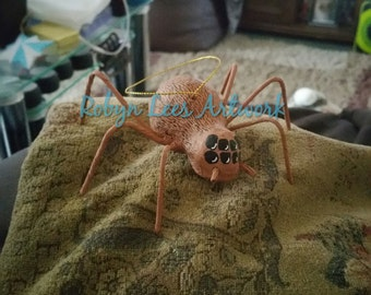 Small Brown Hand Painted Spider Ornament Figure in Waterproof, Fadeproof Brown and Black Paint with Certificate of Authenticity, Halloween