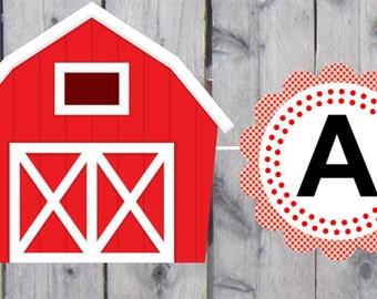 Barn Banner, Farm Banner, Red Barn Banner