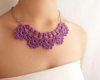 Violet necklace winter fashion Purple lace necklace Unique mauve choker Bridal party jewelry Crochet necklace Statement necklace Orchid