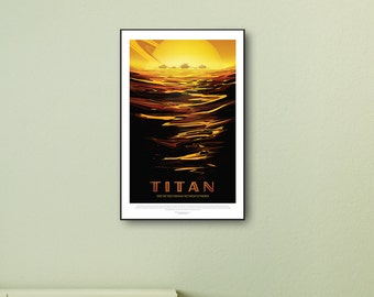 NASA Space Print, Titan, Saturn, Large Prints, Space Art, Travel Poster, Space Prints, Science Gifts, Solar System, Framed Print, Canvas