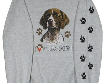German Shorthaired Pointer Sweatshirt with paw prints on sleeve,jogging shirt,paw prints,unisex,dog shirt,woman's,men's,shorthaired,pointer