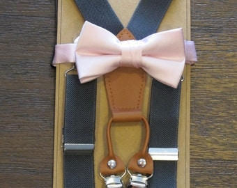 blush bow tie and suspenders, blush bowtie with suspenders, baby boy toddler blush bow tie and suspenders
