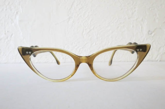 Glasses Frame Made In France : Vtg Cat Eyeglasses Brown Plastic Frame Made in France