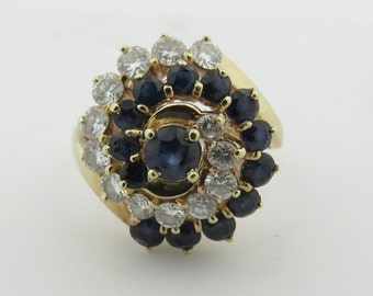 Vintage 14 Kt Gold Sapphire & 12 Fine Diamond Spiral Cluster Cocktail Ring.