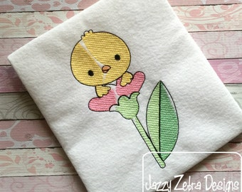 Chick in Flower 100 Sketch Embroidery Design - Easter Sketch Embroidery Design - chick Sketch Embroidery Design