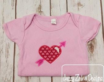 Love birds with hearts machine applique embroidery design love