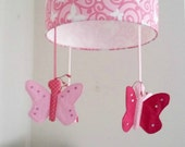 Butterfly nursery lampshade - Pink room theme - Original present for baby shower, girl's first birthday and new baby girl