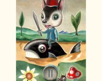 Original Tarot artwork - Prince of Swords by Martin Harris. Miniature watercolor and gouache painting