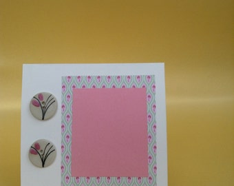 Handmade Greetings Card - Button/Floral design