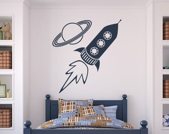 Rocket Ship and Planet Wall Art Sticker (AS10044)